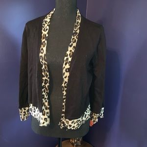 NWOT INC black leopard shrug XL